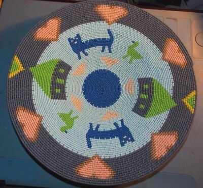 """12.75""""  Love Animals African Zulu Telephone Wire Story Basket/Plate"""