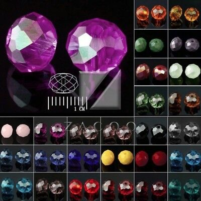 72pcs Approx Rondelle Loose Faceted Czech Crystal Spacer Glass Beads 6.5x8mm
