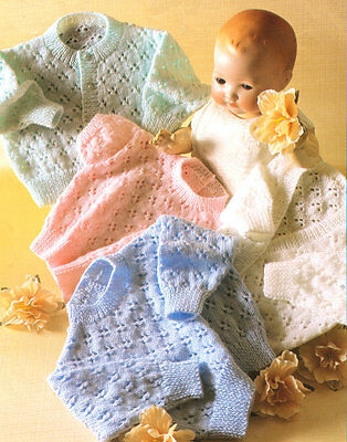 "Lace Baby  Sweater/Cardigans V/Round Neck 4 Ply 12"" - 26"" Prem Knitting Pattern"