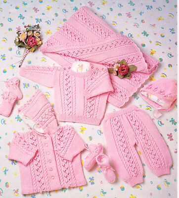 "Cable Set ~ Baby Blanket Trousers & Hood Jacket DK 14"" - 20"" Knitting Pattern"