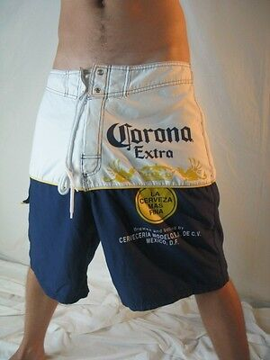 Corona Extra Beer Mexico D.F. Surf Beach Pool Official Board Shorts Swim Wear 34