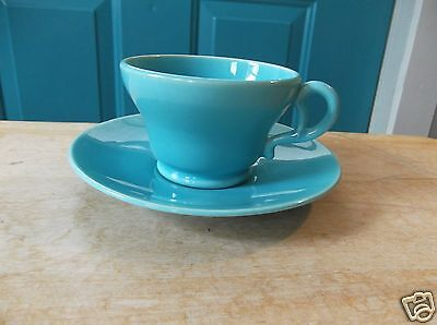 Turquoise Blue Franciscan Pottery Cup and Saucer Set