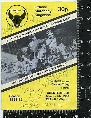 Signed by all team members oxford united f.c offical matchday magazine 1981-82