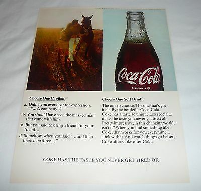1968 Coca-Cola ad page ~ Boy and Girl With Horse