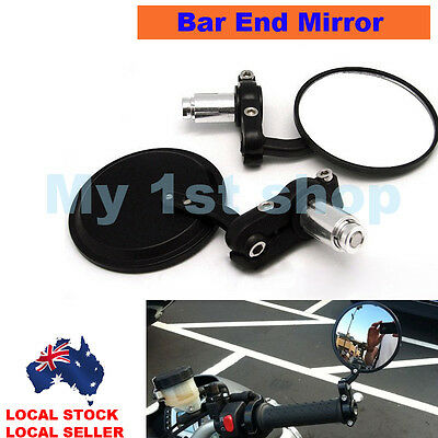 "Universal Black Motorcycle bike 7/8"" Bar End Rear Side View Mirrors Cafe Racer"