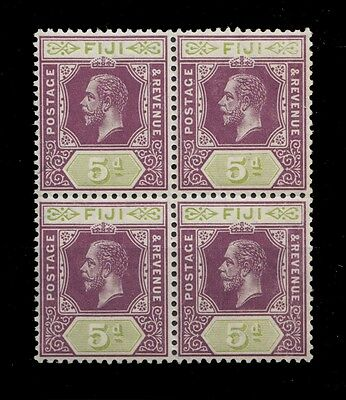 1914 Fiji King George V 5D.violet Oliveg Reen Wmk. 3 Block Of 4 - M. Nh Sct. 86