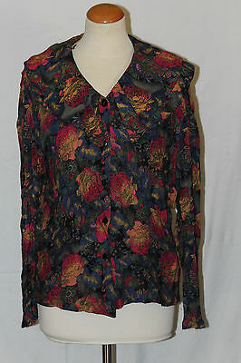 pur vintage chemisier t 40 grand col double viscose motif fleurs hollande