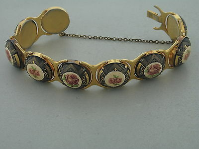 Rare Art Deco Gold Tone Guilloch Enamel Rose Design With Safety Chain C1920