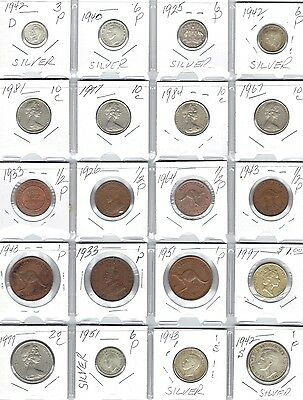 AUSTRALIA Lot of 20 Different Coins - 7 Silver Coins - Nice Australian Coin Lot