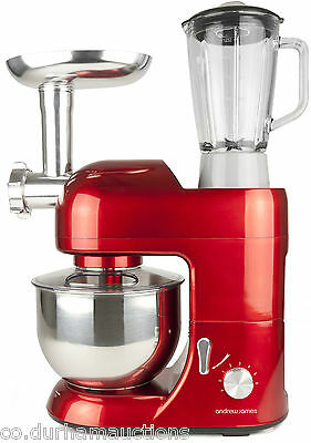 Andrew James Multifunctional Red 5.2L Food Stand Mixer Meat Grinder & Blender