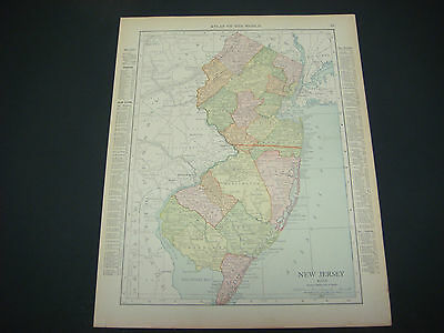 1914 Rand McNally Atlas Map Page New Jersey / Pennsylvania Suitable To Frame
