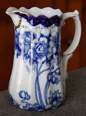 GORGEOUS W.W.R. & CO STAFFORDSHIRE ENGLAND BLUE COBALT WHITE FLORAL MILK PITCHER