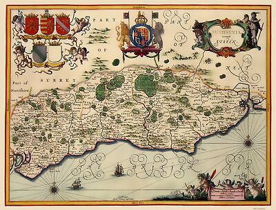 Sussex County England - Jansson 1646 - 23 x 30.16