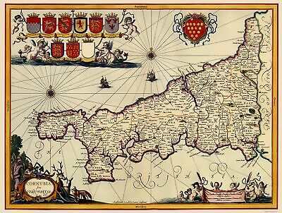 Cornwall County England Great Britain - Jansson 1646 - 23 x 30.49