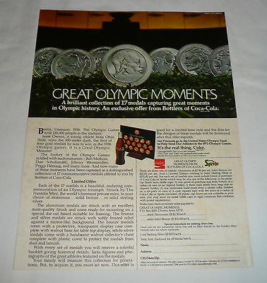 1972 Coca Cola ad page ~ Great Olympic Moments coin set