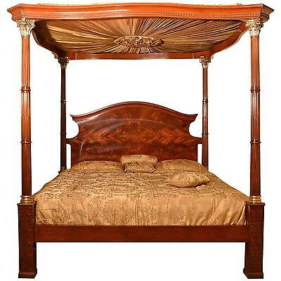 Huge Super King Mahogany Four Poster Bed