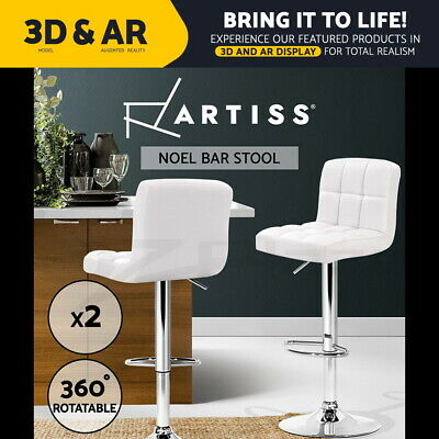 2 x PU Leather Bar stool Kitchen Chair Barstool Gas Lift White Noel 1055