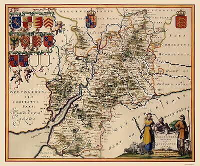 Glocestershire County England - Jansson 1646 - 23 x 27