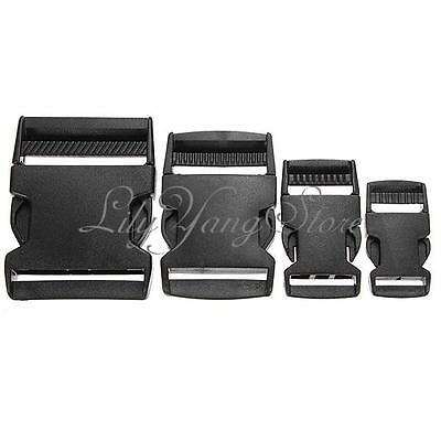Black Plastic Side Quick Release Clasp Buckles Webbing Cord Strap 20/25/40/50mm