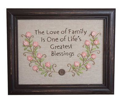 Love Of Family Framed Stitchery Embroidery Crochet Flowers Linen 9X7""