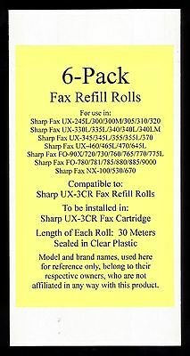 6-pack of UX-3CR Fax Refill Rolls for Sharp UX-300 UX-300M UX-305 UX-310 UX-320