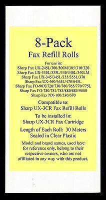 8-pack of UX-3CR Fax Refill Rolls for Sharp UX-300 UX-300M UX-305 UX-310 UX-320