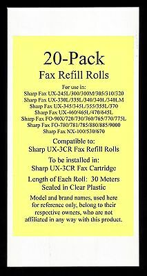 20-pack of UX-3CR Fax Refill Rolls for Sharp UX-300 UX-300M UX-305 UX-310 UX-320