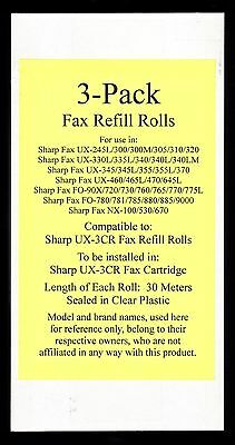 3-pack UX-3CR Fax Refill Rolls for Sharp UX-330L UX-335L UX-340 UX-340L UX-340LM