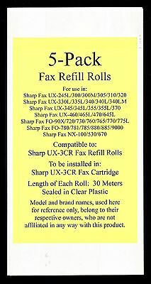 5-pack UX-3CR Fax Refill Rolls for Sharp UX-330L UX-335L UX-340 UX-340L UX-340LM