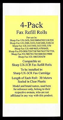 4-pack of UX-3CR Fax Refill Rolls for Sharp UX-345 UX-345L UX-355 UX-355L UX-370
