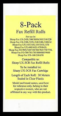 8-pack of UX-3CR Fax Refill Rolls for Sharp UX-345 UX-345L UX-355 UX-355L UX-370