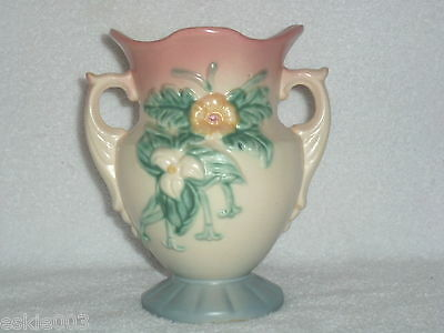 """HULL POTTERY Vintage Wildflower Double Handle VASE W-4- 6 1/2   6 1/2"""" Tall  NR"""