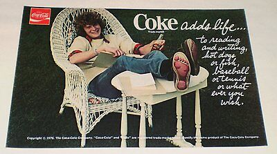 1976 Coca-Cola ad ~ Coke Adds Life wicker chair studying