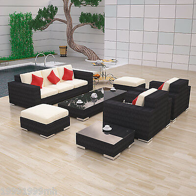 Outsunny 7pc Outdoor Rattan Sofa Wicker Sectional Set Patio Furniture New