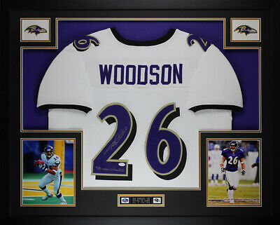 d1e8c7602 Rod Woodson Autographed SB Champs and Framed White Ravens Jersey JSA COA  (D1-L