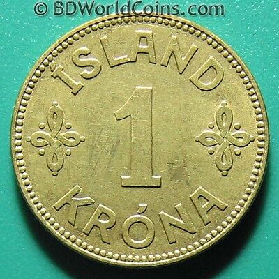 ICELAND 1940 N-GJ ONE 1 KRONA XF DETAILS! ISLAND WORLD COIN ALUMINUM-BRONZE 22mm