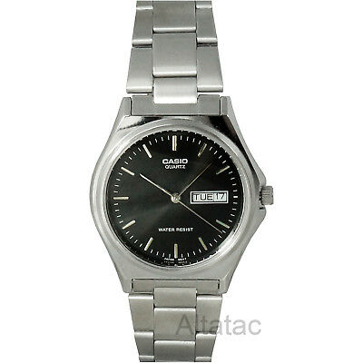 Casio MTP-1240D-1A Men's Quartz Silver Analog Watch w/ Black Dial, Day & Date
