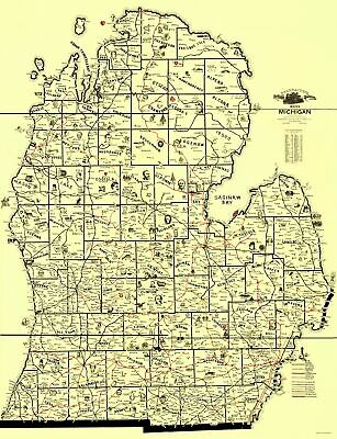 Old Travel Map - Michigan Transportation Routes - McEwen 1897 - 23 x 30.00