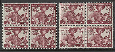 Stamps Australia 1952 Scout 3&1/2d issue thin paper block of 4 MUH, scarce