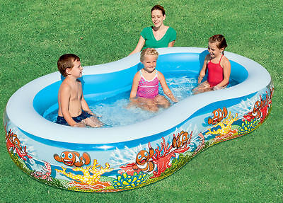 "Bestway Sea Scene Lagoon Family Inflatable Garden Paddling Pool 103"" x 62"" x 18"""