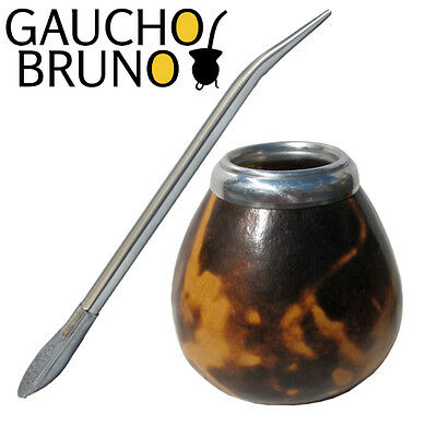 K38 Natural Mate Gourd Decorated With Fire Splash, With Stainless Steel Bombilla