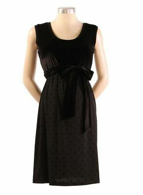 New Japanese Weekend Maternity & Nursing Black Sleeveless Velvet Shift Dress