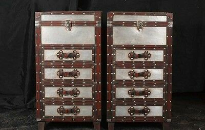 Pair Campaign Industrial Nightstands Chest Drawers Bedside Tables Luggage Trunk