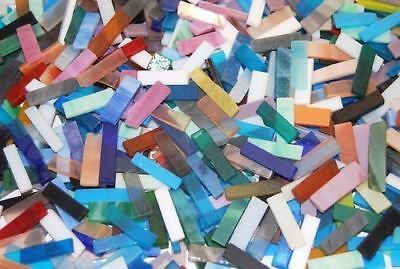 "100 1/4"" Mixed Color Tumbled Border Stained Glass Mosaic Tiles"