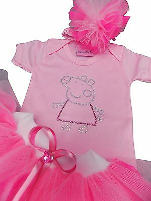 Neon Tutu Skirt Pink Peppa Pig Sparkle Rhinestone Top Girls Dress Baby Toddler