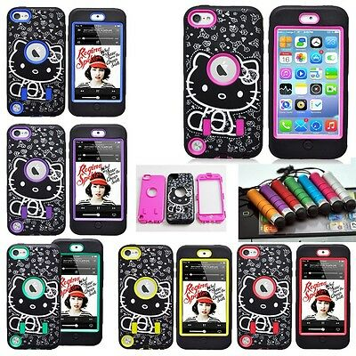 Deluxe 3Piece Hybrid Hello Kitty Rubber Case Cover For iPod Touch 5 th Pen