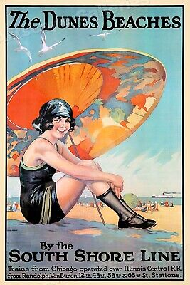 Dunes Beach - 1920s South Shore Line Vintage Style Travel Poster - 16x24