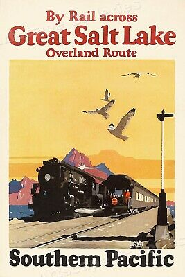 1920s Southern Pacific Railroad Great Salt Lake Vintage Travel Poster - 20x30
