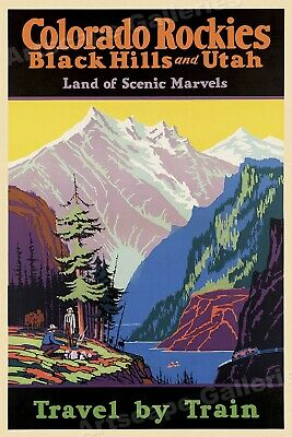 1920s Colorado Rockies Land of Scenic Marvels Vintage Travel Poster - 20x30