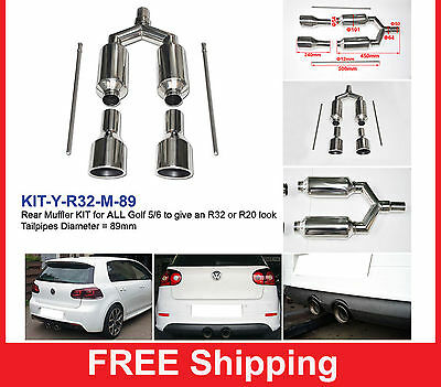 "Exhaust muffler R32 R20 look for ALL VW GOLF 5 - 6 with 3.5"" 89mm tips"